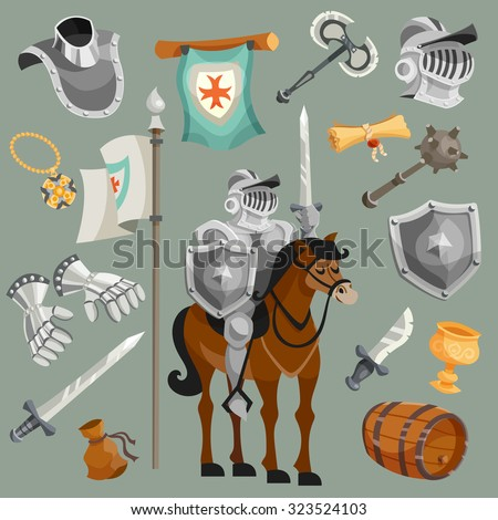 Knights armor fairy tale cartoon icons set isolated vector illustration - stock vector