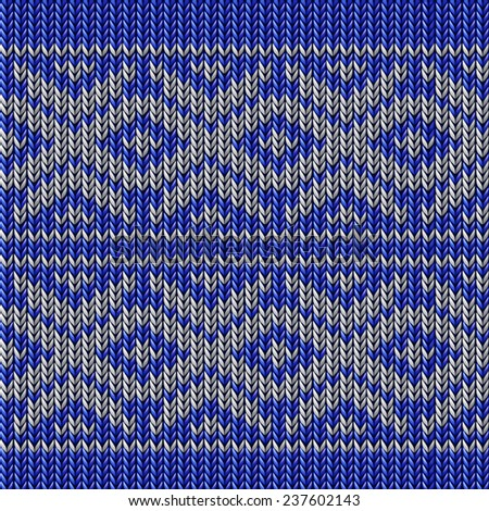 knitted blue christmas ornamental - stock vector