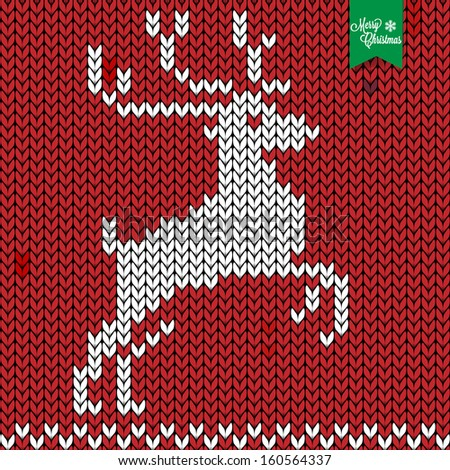 knitted deer vintage retro background - stock vector