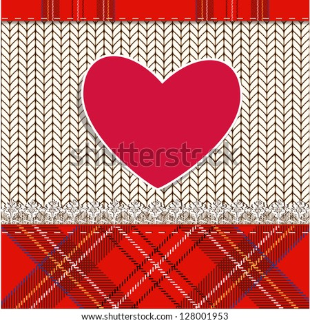 knitted fabric for Valentine - stock vector