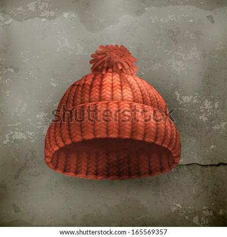Knitted red cap old style vector - stock vector