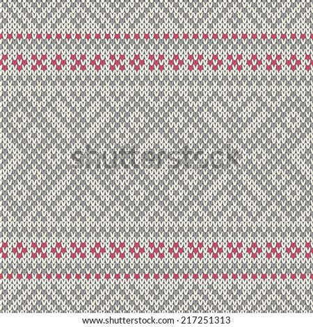 Knitted seamless geometric pattern - stock vector