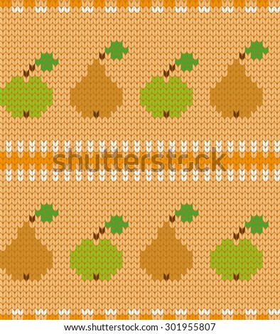knitted seamless pattern fruits - stock vector