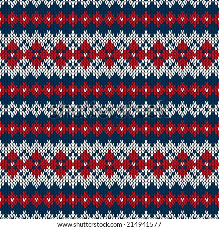 Knitted seamless pattern in Fair Isle style. Vector illustration - stock vector