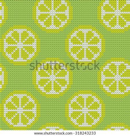 knitted seamless pattern lemon - stock vector
