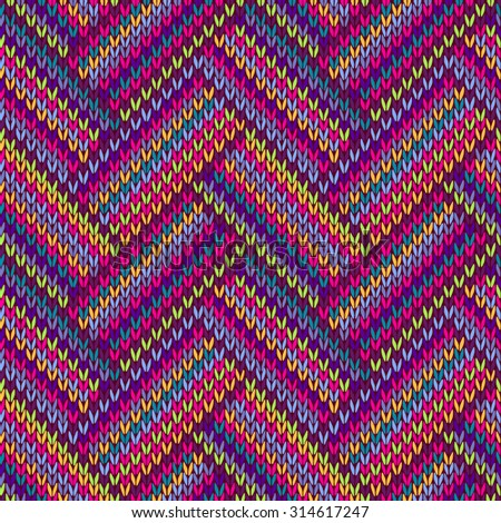 Knitted Seamless Red Blue Pink Yellow Violet Orange Green Ornamental Striped Pattern - stock vector