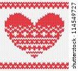 Knitted vector heart on seamless background. EPS 10 vector illustration. - stock vector