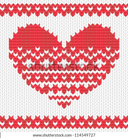 Knitted vector heart on seamless background. EPS 10 vector illustration. - stock vector