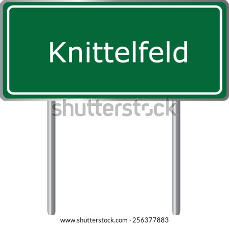Knittelfeld, Austria, road sign green vector illustration, road table - stock vector