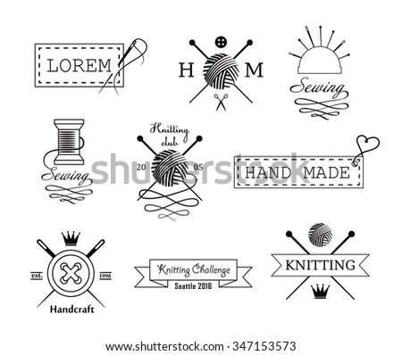 Knitting and sewing vector labels set - stock vector