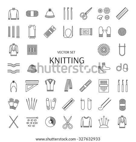 Knitting line icons set. Knitting supplies and accessories. Needle, crochet, woolen yarn, hook,  scissors, pattern. Knitwear, pullover, comforter, scarf, jacket, mitten, sock. Vector illustration. - stock vector