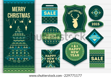 Knitting pattern elements for christmas decoration. Vector - stock vector