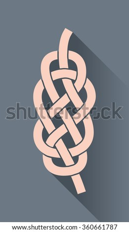 Knot on the rope symbol, in flat design - stock vector