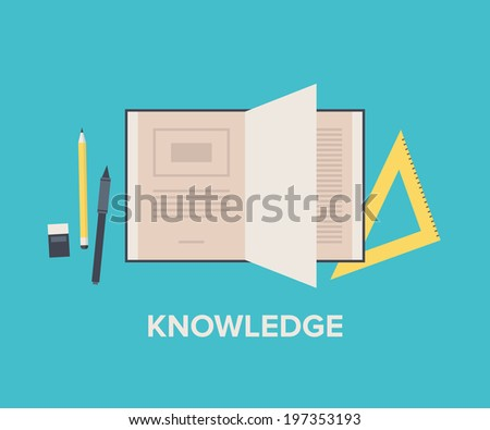 Knowledge and education concept with open book for reading and learning, maths equipment and writing text tools. Flat design style modern vector illustration. Isolated on stylish background. - stock vector
