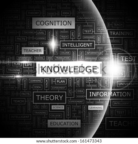 KNOWLEDGE. Background concept wordcloud illustration. Print concept word cloud. Graphic collage. Vector illustration. - stock vector