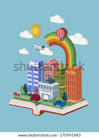 knowledge concept 3d isometric infographic with a book showing beautiful city scene - stock vector