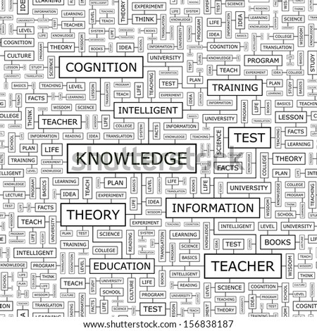 KNOWLEDGE. Concept vector illustration. Word cloud with related tags and terms. Graphic tag collection. Wordcloud collage. Seamless pattern.  - stock vector