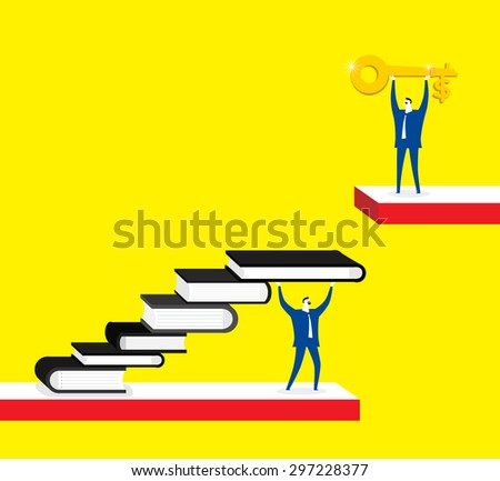 Knowledge is a key for success, businessmen, books, gold key - stock vector