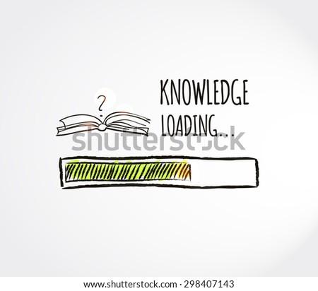 Knowledge loading concept. Progress bar design. Education, online education, e-learning concept. Vector illustration.  - stock vector