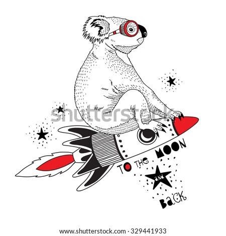 koala flying on the rocket to the moon, kid illustration, art print - stock vector