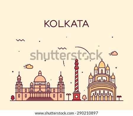 Kolkata skyline, detailed silhouette. Trendy vector illustration, linear style. - stock vector