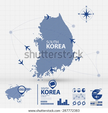 korea map infographic - stock vector