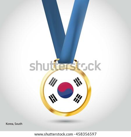 Korea South  Flag in gold Medal. Vector Illustration - stock vector