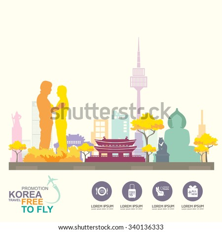 Korea Travel Vector Concept Promotion Travel around the World - stock vector