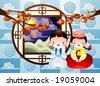 Korean Autumn Harvest - stock vector