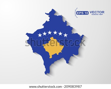 Kosovo map with shadow effect - stock vector
