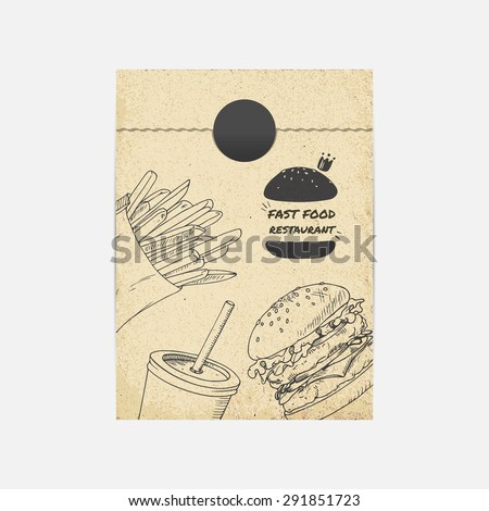 Kraft paper takeaway bag mockup in vector. Sketched illustration with fast food. Restaurant branding template - stock vector