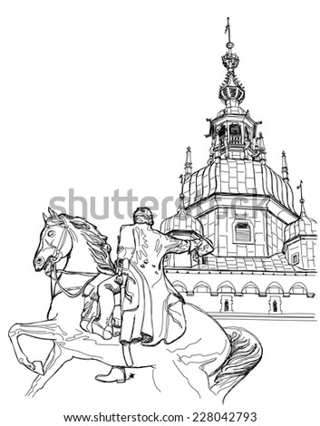 Krakow. Poland. Tadeusz Ko?ciuszko Monument & The Wawel Cathedral, Katedra Wawelska in Polish, was the coronation site of Polish monarchs and remains Poland's most important national sanctuary. - stock vector