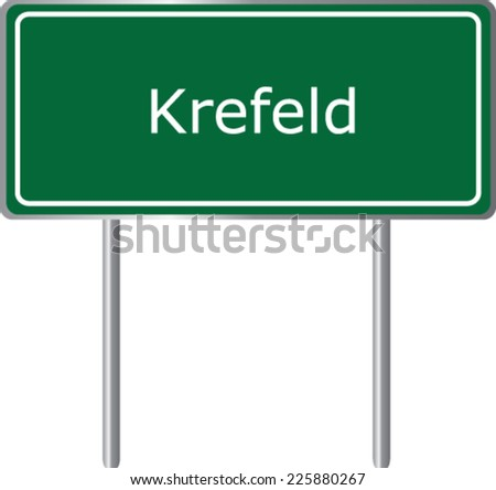 Krefeld , Germany , road sign green vector illustration, road table - stock vector
