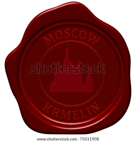 Kremlin cathedral. Sealing wax stamp for design use. - stock vector