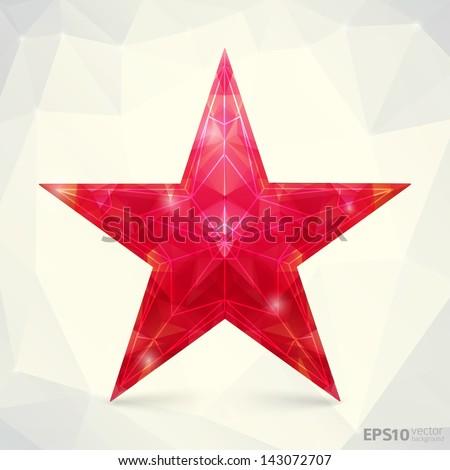 Kremlin red star abstract vector polygonal background - stock vector
