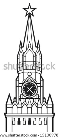kremlin tower with clock in moscow, russia (spasskaya tower of the moscow kremlin, kremlin clock of the spasskaya tower, red clock tower of moscow, moscow kremlin tower) - stock vector