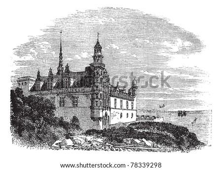 Kronborg Castle in Helsingor, Denmark, during the 1890s, vintage engraving. Old engraved illustration of Kronborg Castle. Trousset Encyclopedia - stock vector