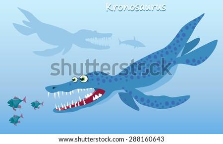 Kronosaurus. Huge sea dinosaur of the Cretaceous period. Vector illustration in cartoon style - stock vector