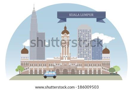 Kuala Lumpur, Malaysia. Vector for you design - stock vector