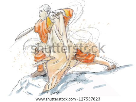Kung Fu, Chinese martial art. /// A hand drawn illustration converted into vector of Chinese martial arts, popularly referred to as kung fu. /// Vector is editable in 6 layers. - stock vector