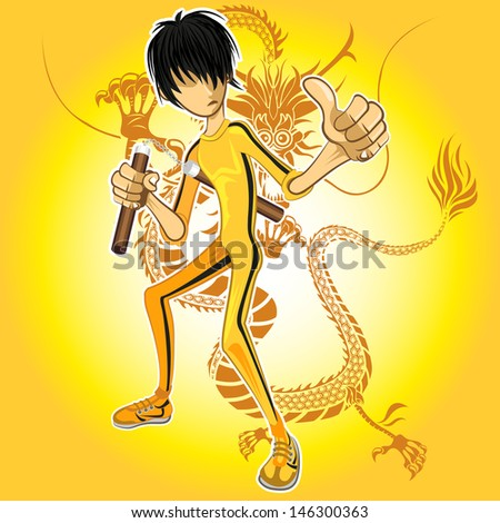 Kungfu Master Wearing Yellow Jumpsuit Playing Nunchucks With Dragon Tatoo - stock vector