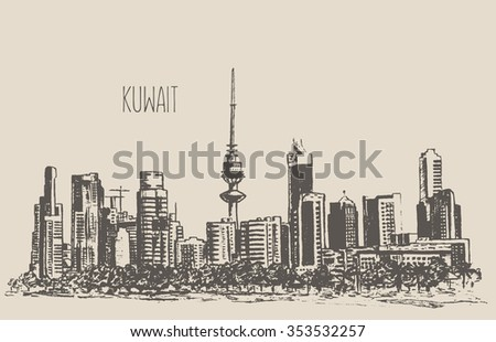 Kuwait City skyline detailed silhouette. Hand drawn, engraved vector illustration - stock vector