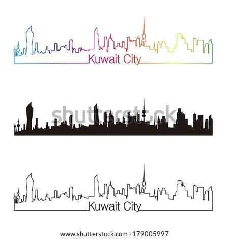 Kuwait City skyline linear style with rainbow in editable vector file - stock vector
