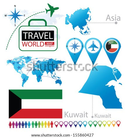 Kuwait. flag. Asia. World Map. Travel vector Illustration. - stock vector