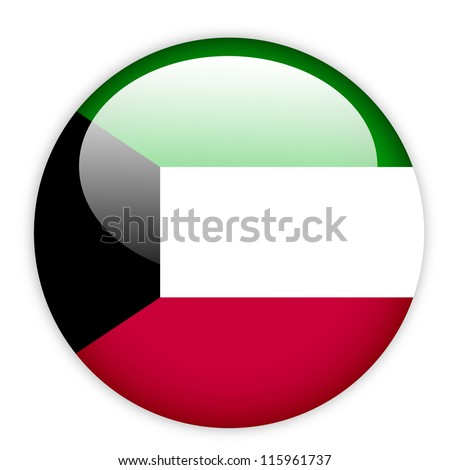 Kuwait flag button on white - stock vector