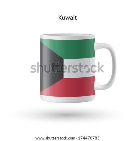 Kuwait flag souvenir mug isolated on white background. Vector illustration. - stock vector