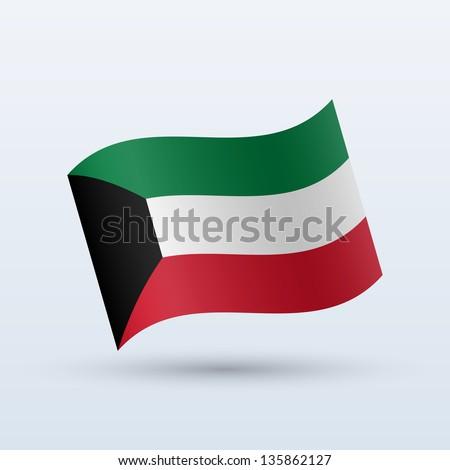 Kuwait flag waving form on gray background. Vector illustration. - stock vector
