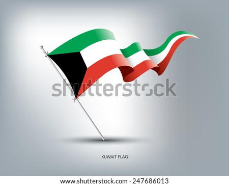 Kuwait flying flag in isolated background - stock vector
