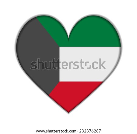 Kuwait heart flag vector illustration - stock vector