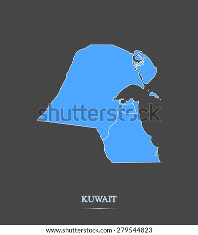 Kuwait map outlines in highlighted grey background, vector map of Kuwait in contrasted design for brochure template, tourist map, advertisement, web page design, science and education uses - stock vector